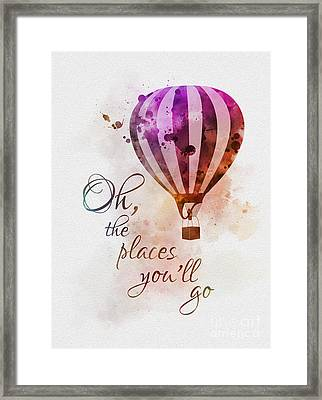 Oh The Places You'll Go Framed Print by Rebecca Jenkins