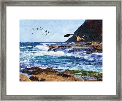 Framed Print featuring the painting Oh The Wind And The Waves by Lianne Schneider