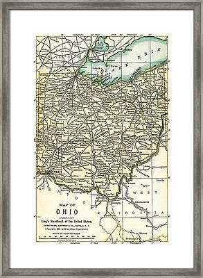 Ohio Antique Map 1891 Framed Print
