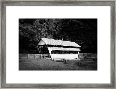 Ohio Covered Bridge In Black And White Framed Print by Tom Mc Nemar