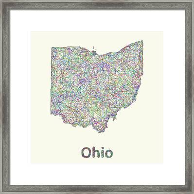 Ohio Line Art Map Framed Print by David Zydd