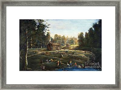 Ohio: Log Cabin & Farm Framed Print