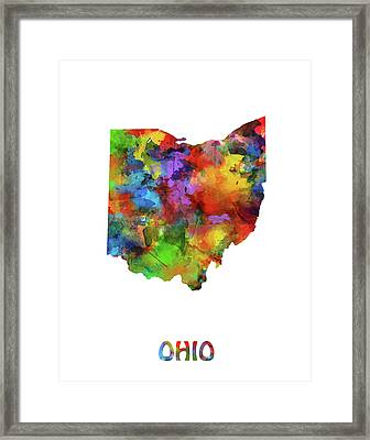 Ohio Map Watercolor Framed Print