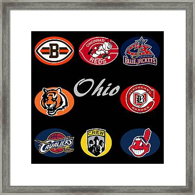 Ohio Professional Sport Teams Collage Framed Print by Movie Poster Prints