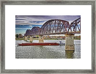Ohio River Bridge Framed Print by Dennis Cox