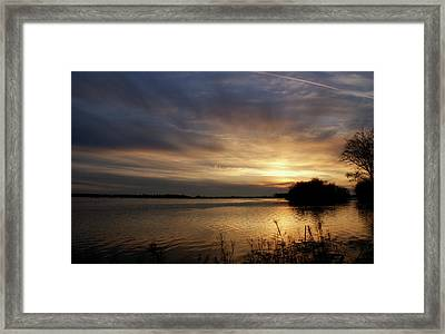 Ohio River Sunset Framed Print by Sandy Keeton