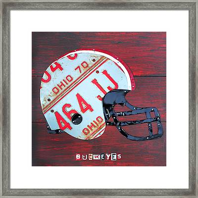 Ohio State Buckeyes Football Helmet Recycled Vintage License Plate Art Framed Print by Design Turnpike