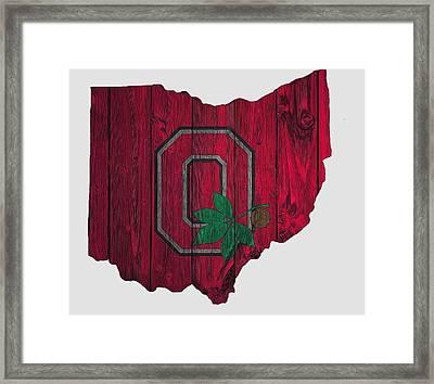 Ohio State Buckeyes Map Framed Print