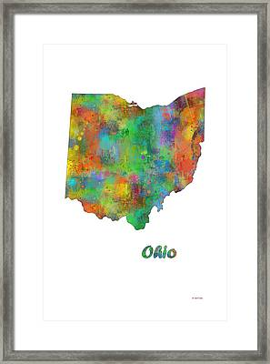 Ohio  State Map Framed Print