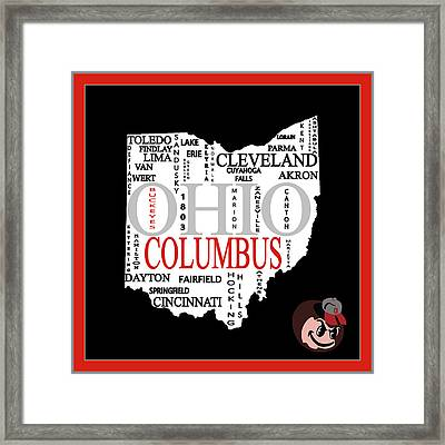 Ohio State Map Typography Framed Print