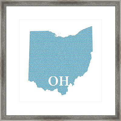 Ohio State Map With Text Of Constitution Framed Print