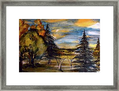 Framed Print featuring the painting Ohio Sunset by Mindy Newman