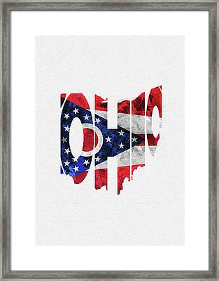 Ohio Typographic Map Flag Framed Print