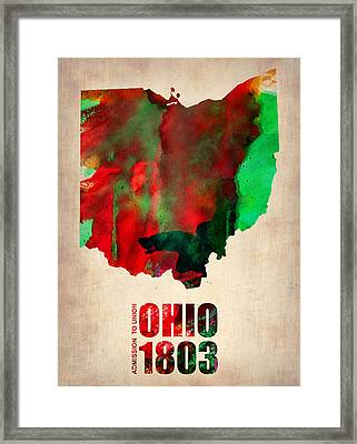 Ohio Watercolor Map Framed Print