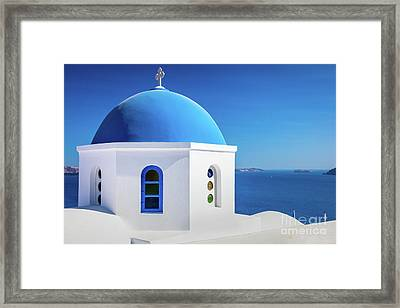 Oia Chapel Framed Print by Inge Johnsson