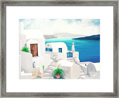 Oia On Santorini - Prints From My Oil Paintings Framed Print