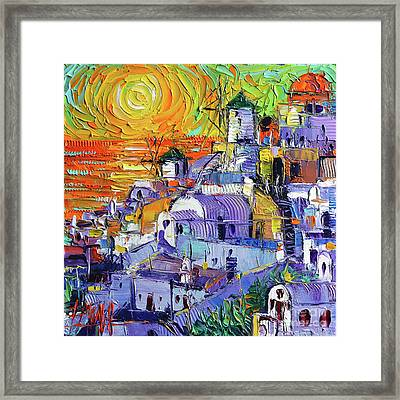 Oia Santorini Magic Light Mini Cityscape #09 - Modern Impressionist Palette Knife Oil Painting Framed Print
