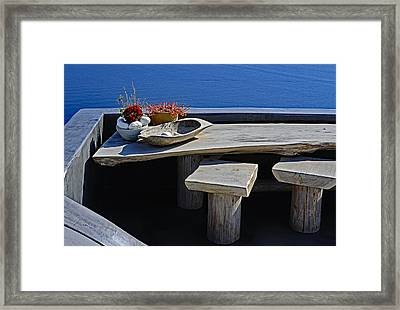 Oia Still Life On The Greek Island Of Thira Framed Print