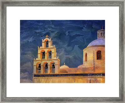 Oia Sunset Imagined Framed Print by Lois Bryan