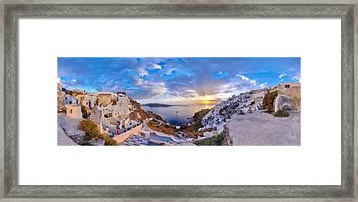 Oia Sunset Framed Print by Milos Novakovic