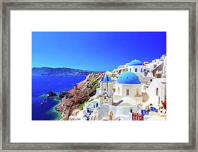 Oia Town On Santorini Island, Greece. Caldera On Aegean Sea. Framed Print