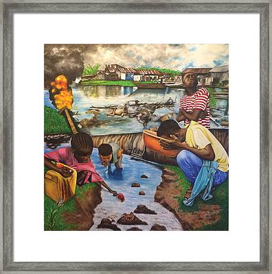 Oil- Africans' Wealth And Woe Framed Print