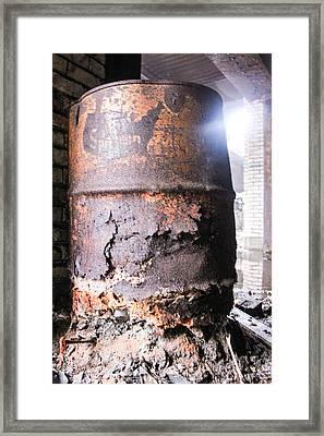 Oil Barrow In Michigan Central Station  Framed Print