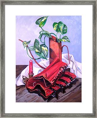 Oil Can And Corset Framed Print