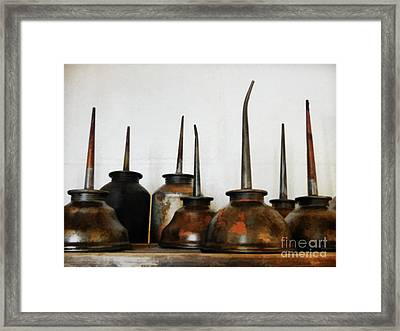 Oil Can, Rusted Framed Print by Laura Atkinson