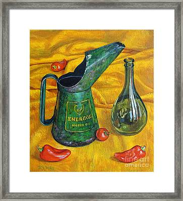 Oil Can With Red Framed Print by Tilly Willis