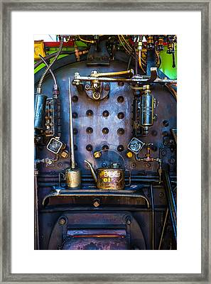 Oil Cans In Steam Engine Cab Framed Print by Garry Gay