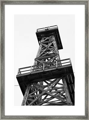 Oil Derrick In Black And White Framed Print