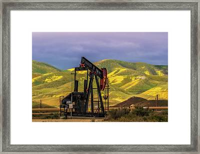 Framed Print featuring the photograph Oil Field And Temblor Hills by Marc Crumpler