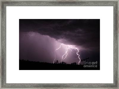 Oil Field Lightning Framed Print