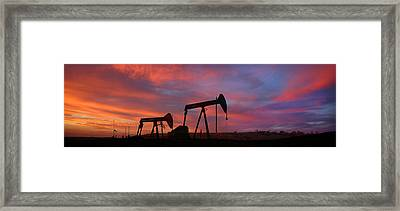 Oil Field Sunset Framed Print by Greg Iger