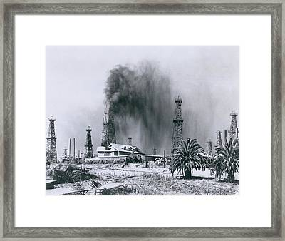 Oil Gusher At Signal Hill In California Framed Print