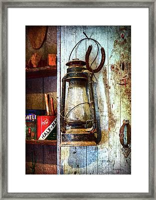 Kerosene Lamp And Horseshoe Framed Print