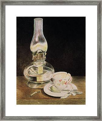 Oil Lamp And Tea Cup Framed Print by Timothy Theis