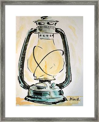 Framed Print featuring the painting Oil Lamp by Maria Langgle