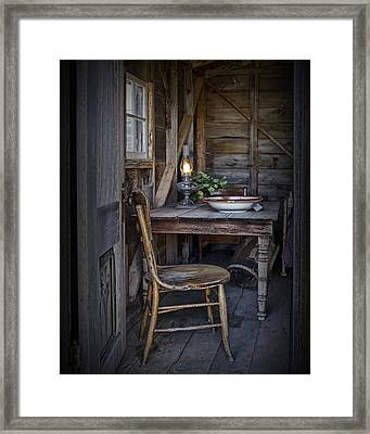 Oil Lamp With Vintage Chair And Table Setting Framed Print by Randall Nyhof