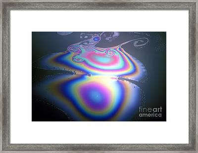 Oil On Water, Interference Pattern Framed Print by ER Degginger