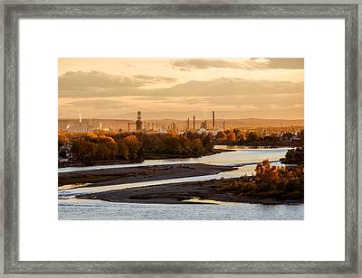 Oil Refinery At Sunset Framed Print by Todd Klassy