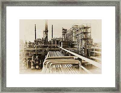 Oil Refinery In Old Vintage Processing Concept Framed Print
