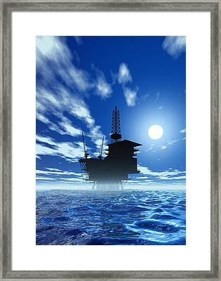 Oil Rig, Artwork Framed Print by Victor Habbick Visions