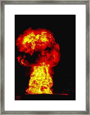 Oil Rig Fire Framed Print by Larry Keahey