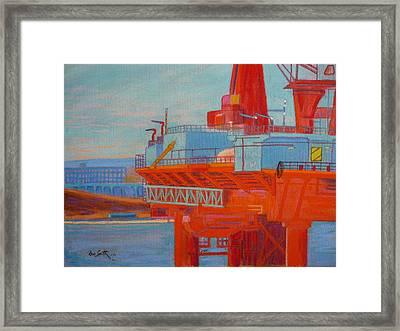 Oil Rig In Halifax Harbour Framed Print