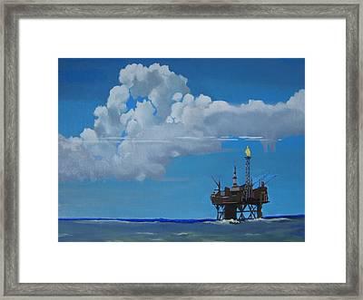 Oil Rig Near The Shetland Islands Framed Print