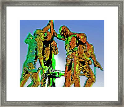 Oil Rig Workers 4 Framed Print by Steve Ohlsen
