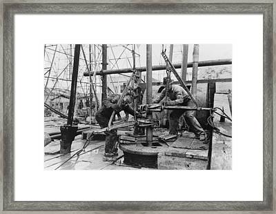 Oil Rig Workers, Called Roughnecks Framed Print by Everett