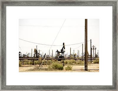 Oil Rigs, Lebec, Mojave Desert, California Framed Print by Paul Edmondson